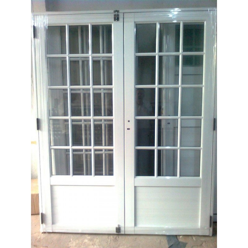 Puerta doble aluminio 3 4 vidrio repartido 160x200 for Puertas y ventanas de aluminio blanco precios