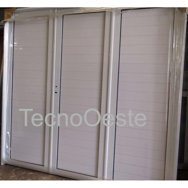 Porton garage aluminio ciego 240x200 cerradura for Portones para garage