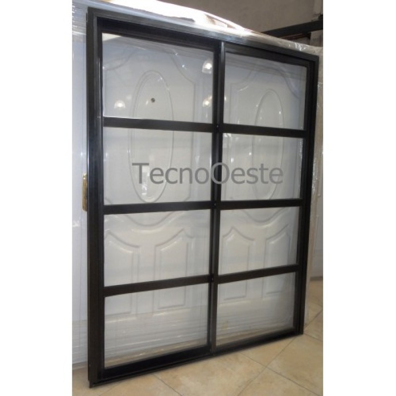 Puerta ventana balc n 150x200 negra vidrio repartido for Puerta ventana de aluminio corrediza