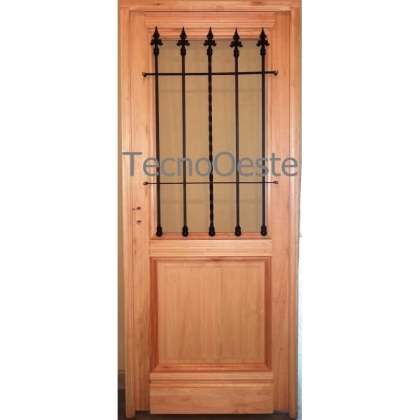 Puerta madera grandis 80x200 1 2 vidrio colonial maciza for Puertas de madera y cristal exterior