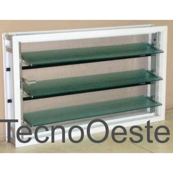 Ventiluz Aluminio Blanco 60x36 cmCon Vidrio Reja Mosquitero