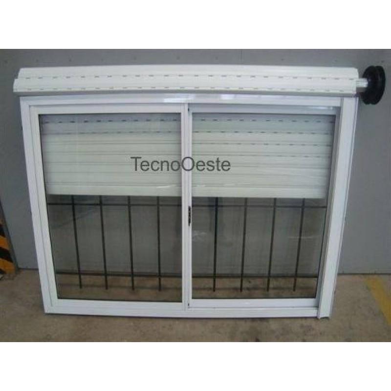 Ventana aluminio blanco 150x110 vidrio guia cortina y reja for Precios de ventanas con persianas