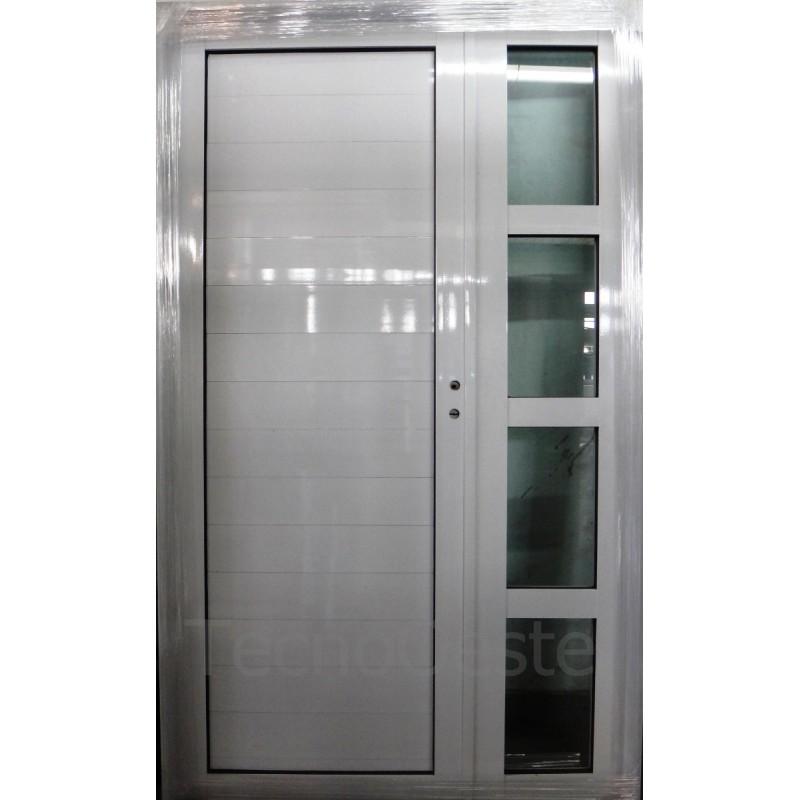 Puerta y media 120x200 cm de alumino blanco - Puertas de aluminio de exterior ...