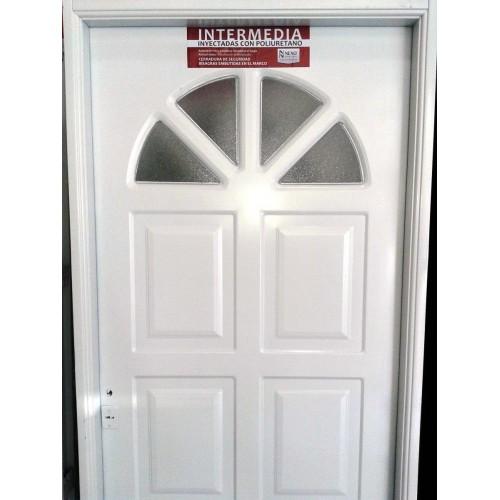 Puerta exterior nexo inyectada sol con vidrio 80x200 for Puertas de fierro interiores