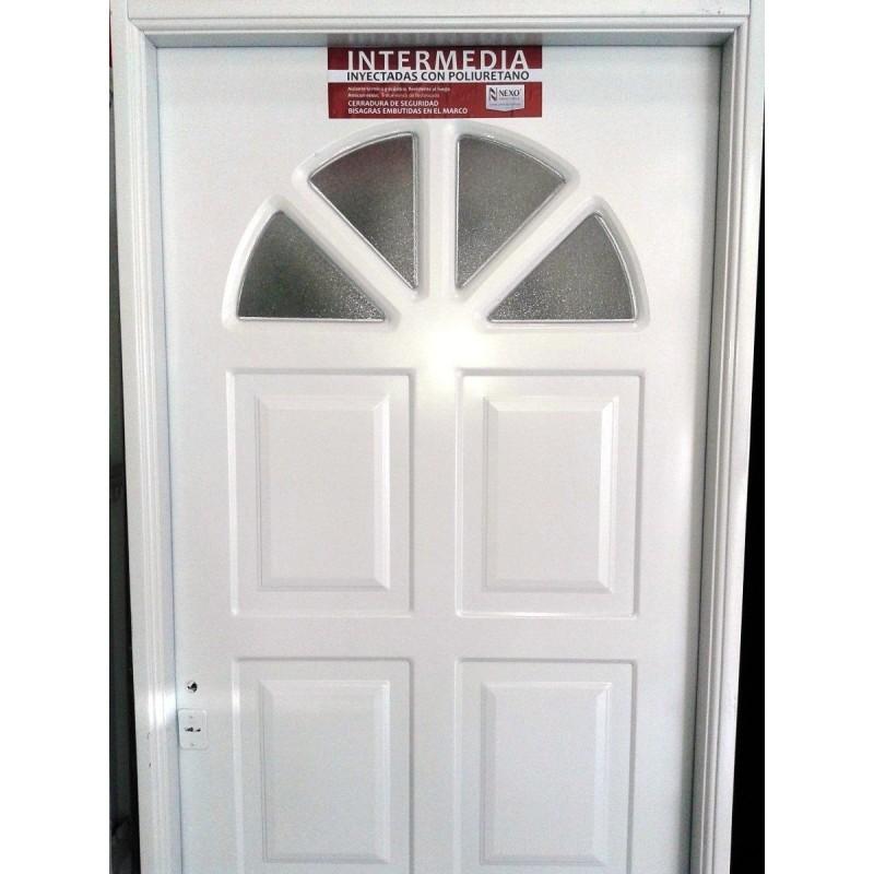 Puerta exterior nexo inyectada sol con vidrio 80x200 for Puertas de madera con vidrio para exterior