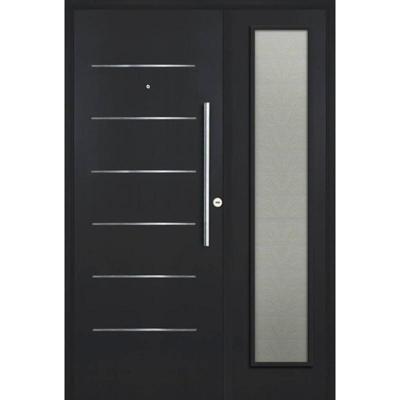 Residencial pavir con vidrio de seguridad for Puertas de chapa galvanizada