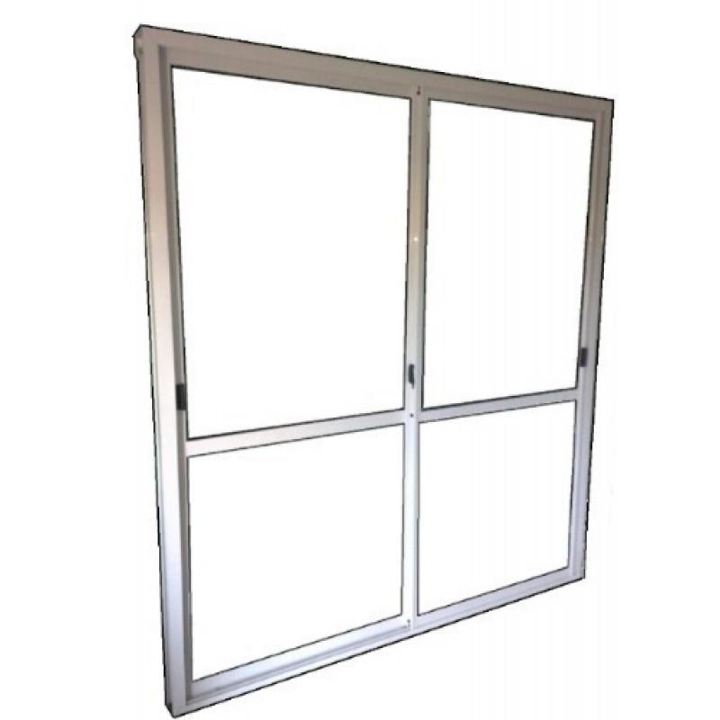 Puerta ventana balcon aluminio blanco 180x200 c guia cortina for Puerta balcon de aluminio