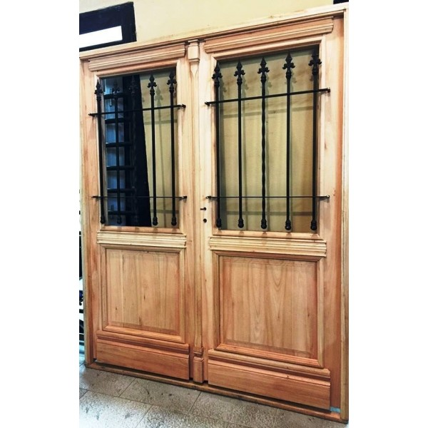 Puerta doble madera exterior colonial antigua 160 cm for Puertas dobles de madera exterior