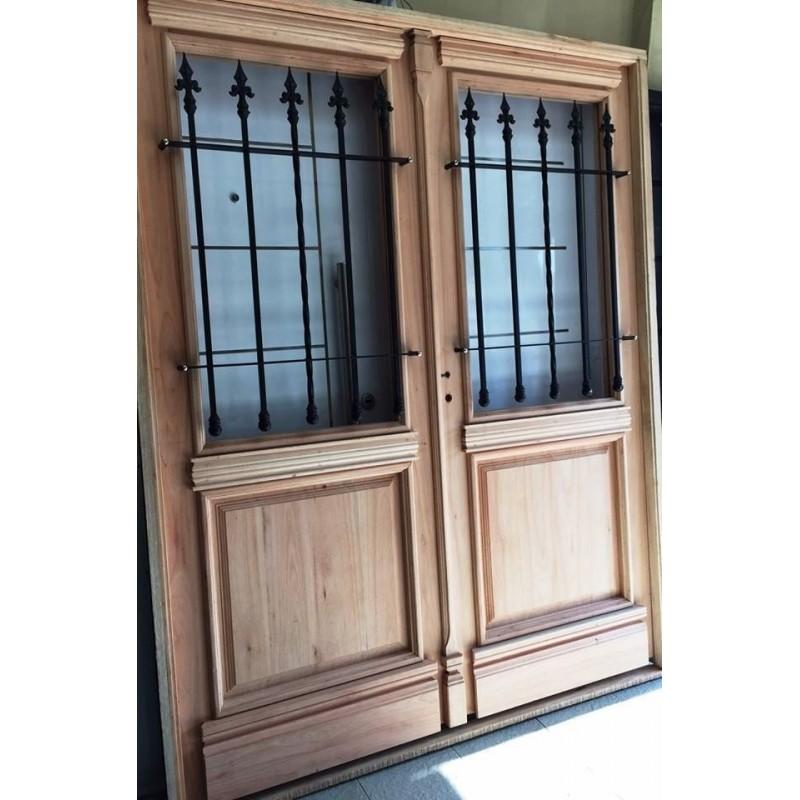 Puerta doble madera exterior colonial antigua 160 cm for Puertas dobles antiguas