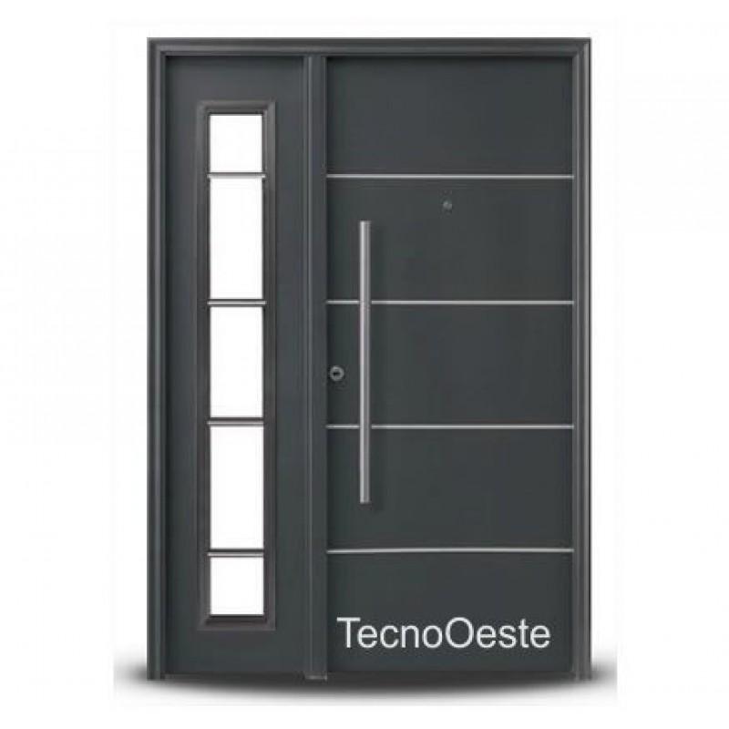 Portada oblak inyectada galvanizada 1783 grafito con 1 lateral for Modelos de puertas metalicas modernas para exteriores