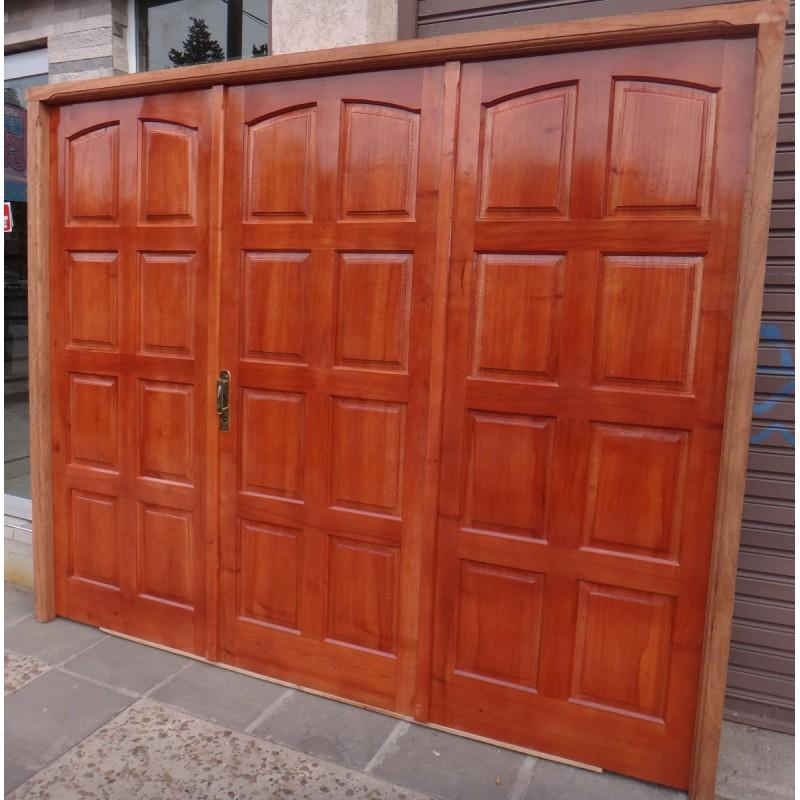 Port n garage exterior cedro macizo 2 marco madera abrir for Puertas de madera para garage