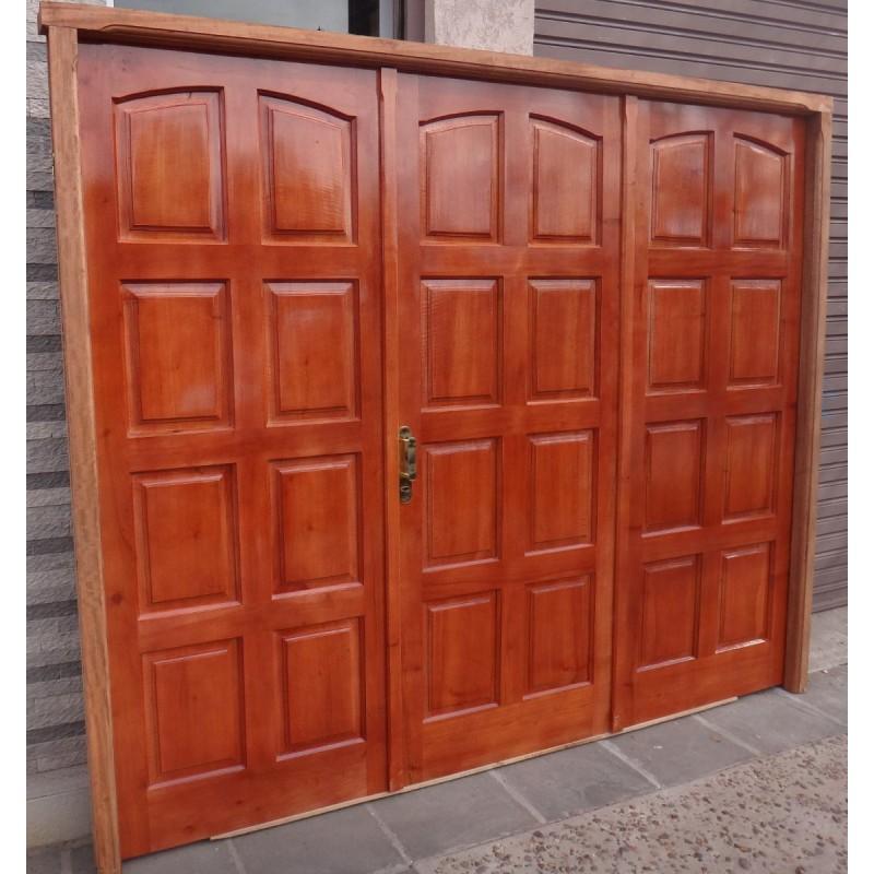 Port n garage exterior cedro macizo 2 marco madera abrir - Portones de madera para exterior ...