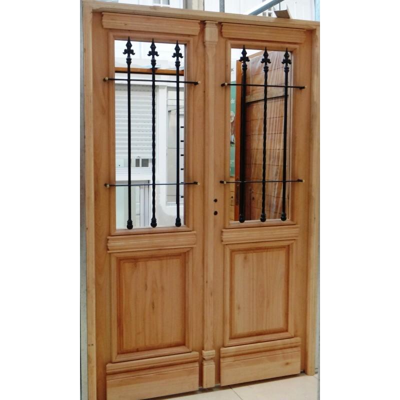 Puerta doble maciza 130x200 colonial for Puertas madera exterior precios