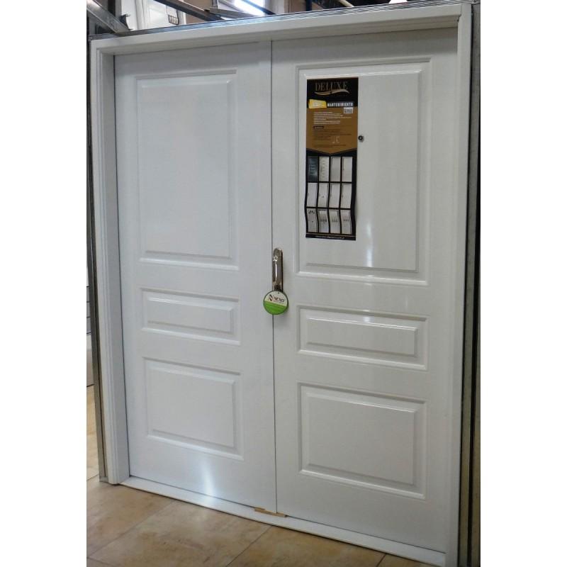 Puerta doble hoja 160x200 nexo modelo 3 tableros for Puertas dobles exterior