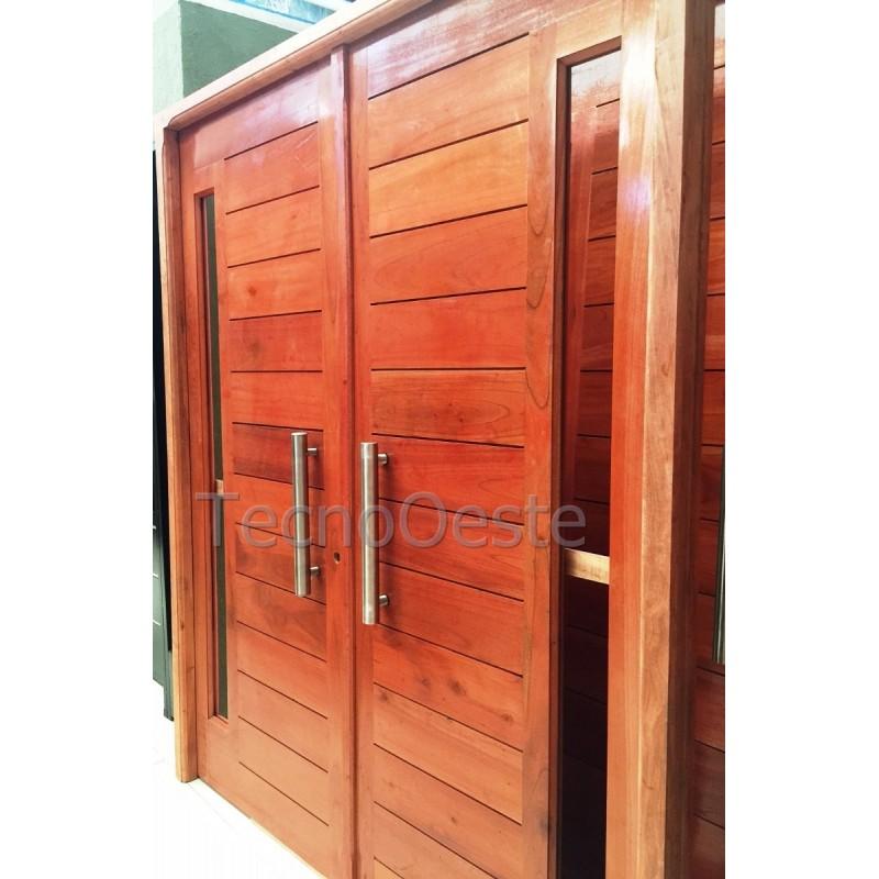 Puerta doble hoja 160x200 cm madera cedro maciza for Puertas de entrada de madera maciza