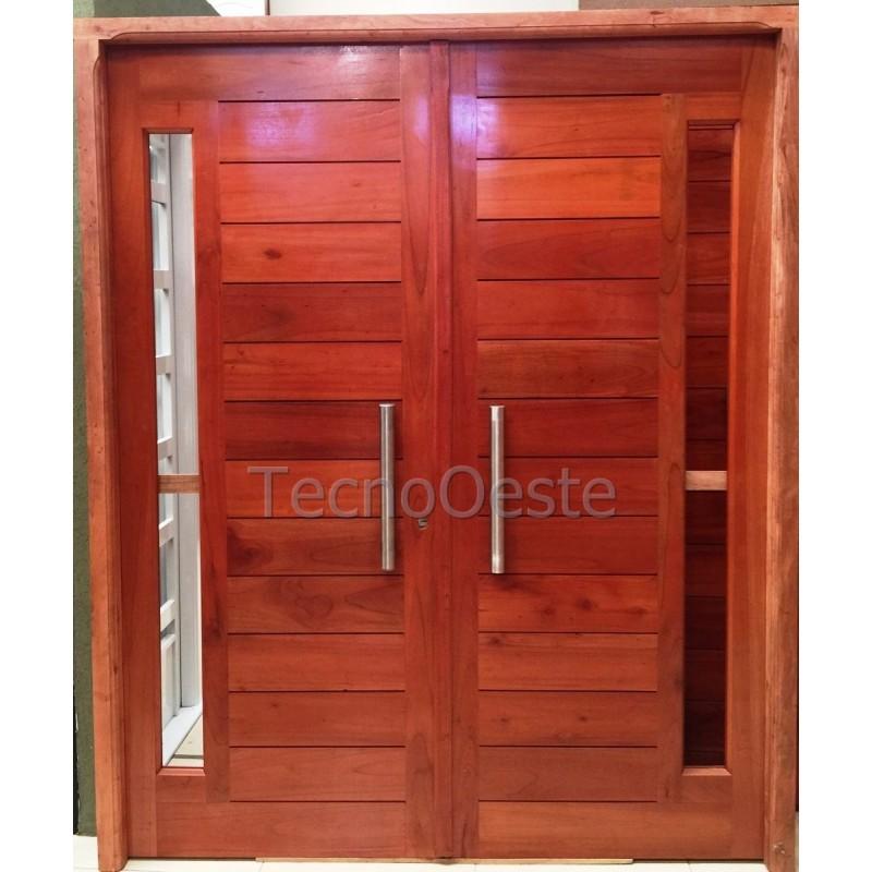Puerta doble hoja 160x200 cm madera cedro maciza for Puertas dobles de madera