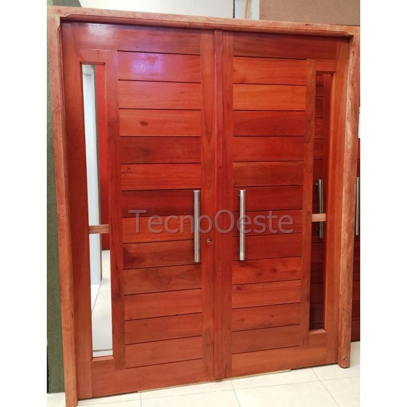 Puerta doble hoja 160x200 cm madera cedro maciza for Puertas de madera maciza exterior