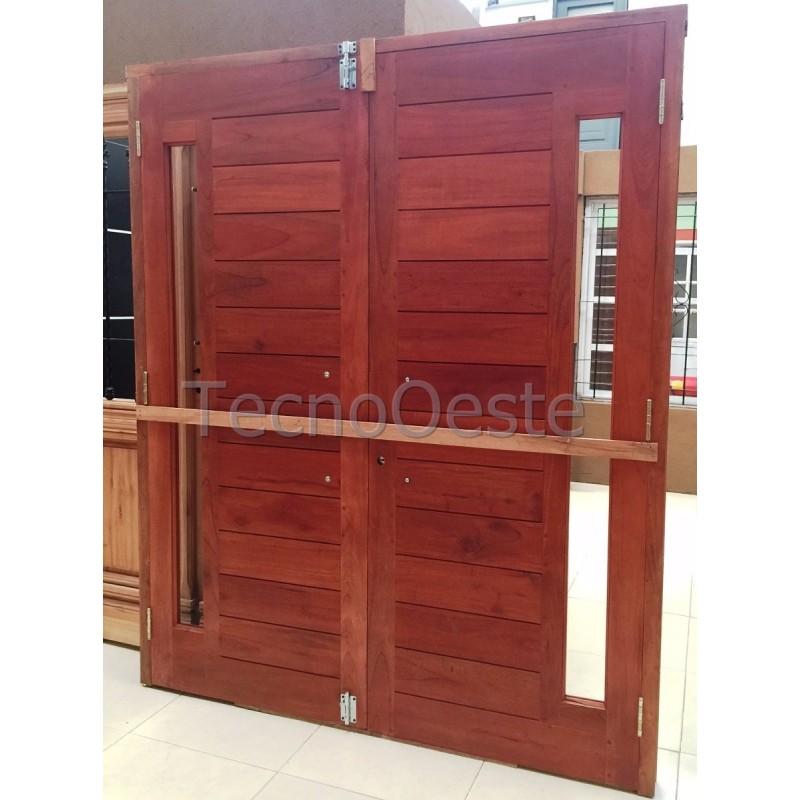 Puerta doble hoja 160x200 cm madera cedro maciza - Puerta corredera doble hoja ...