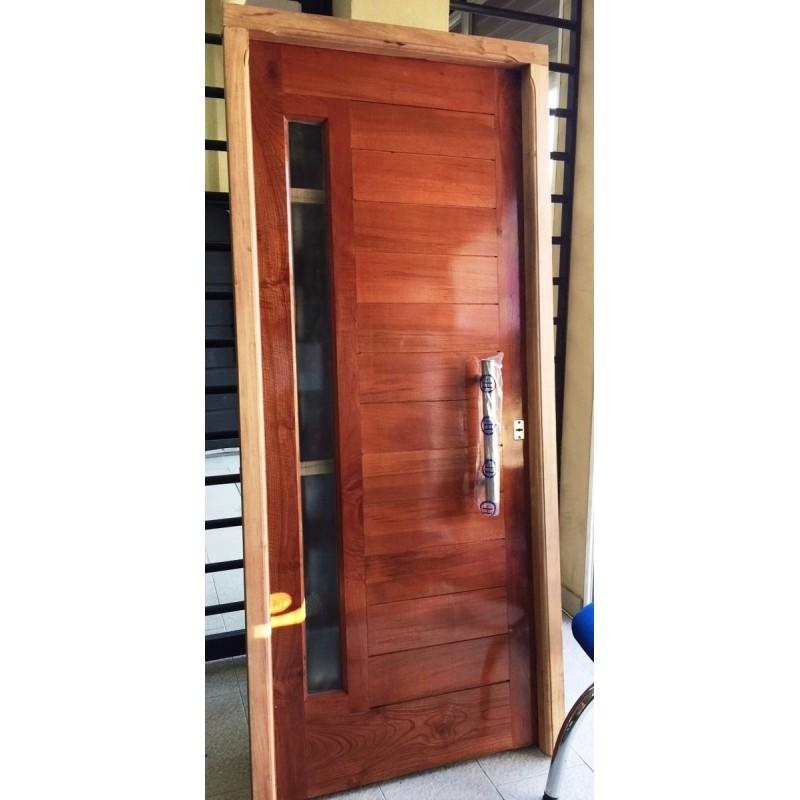 Puerta madera cedro frente 80x200 cm pesada barral for Puertas macizas exterior