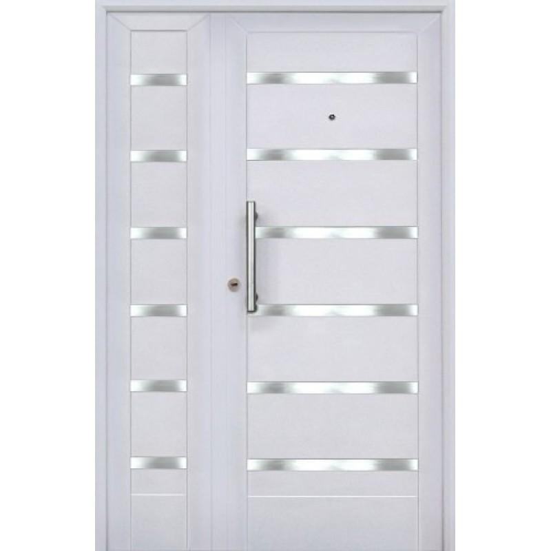 Puerta y media residencial blanca apliques 120x200 for Puertas de madera blancas para exterior