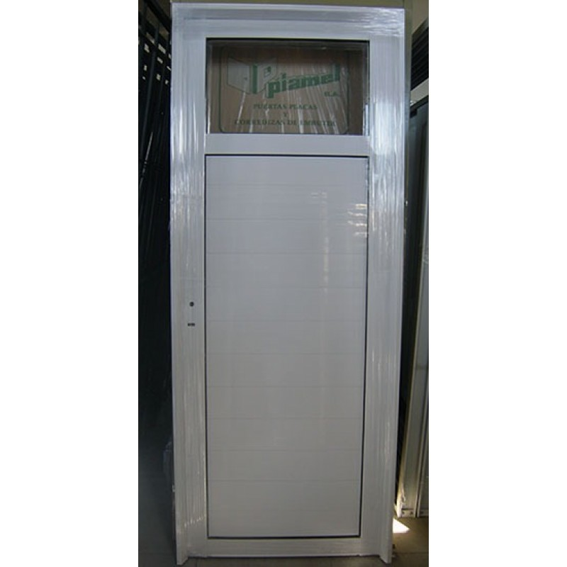 Puerta aluminio 1 4 vidrio entero 80x200 for Sofa exterior aluminio blanco