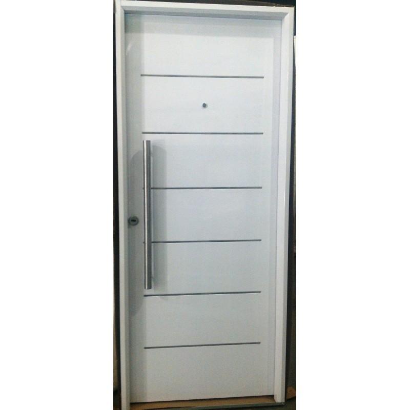 Puerta exterior pavir imperia blanca 80x200 calidad premium for Puertas de chapa galvanizada