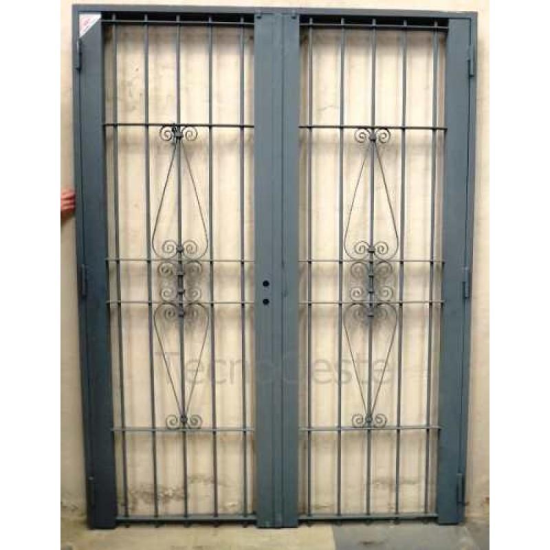 Puerta reja doble colony 150x200 c marco c cerradura - Puertas de reja ...