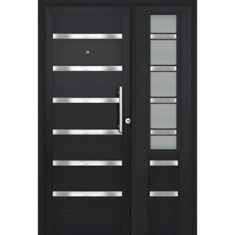 Puerta y media grafito verona con lateral de abrir y for Puerta zaguan aluminio