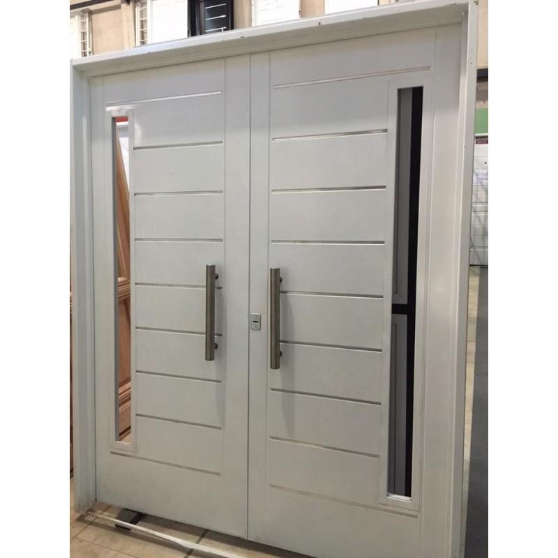 Puerta doble chapa inyectada 160x200 atex postigos for Modelos de puertas de ingreso