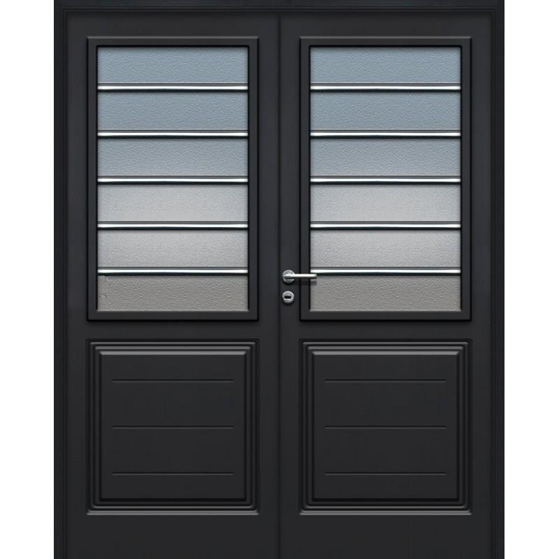 Puerta doble pavir florencia vidriada grafito 160 cm for Doble puerta entrada casa