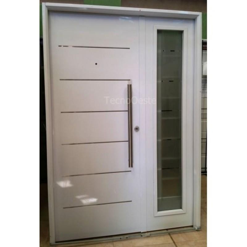 Puerta y media pavir blanca con vidrio de seguridad - Puerta chapa galvanizada ...