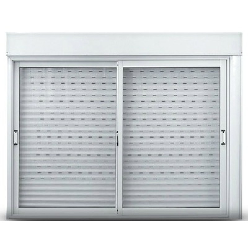 Ventana aluminio oblak cortina pvc caj n compacto 150x110 cm for Ventanas de aluminio con cortina