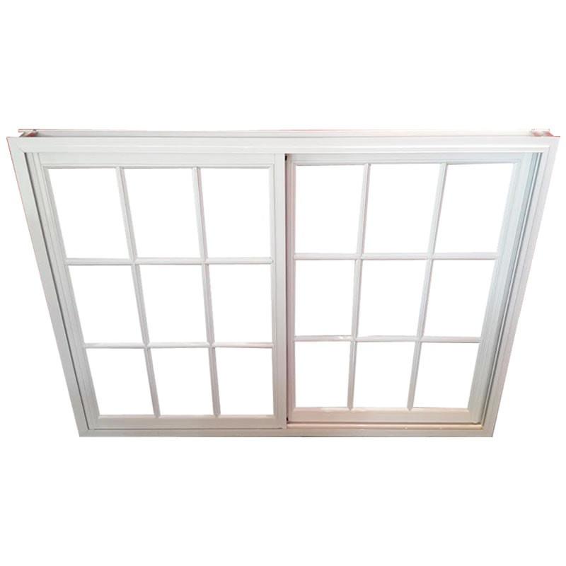 ventana aluminio blanco vidrio repartido x con vidrio