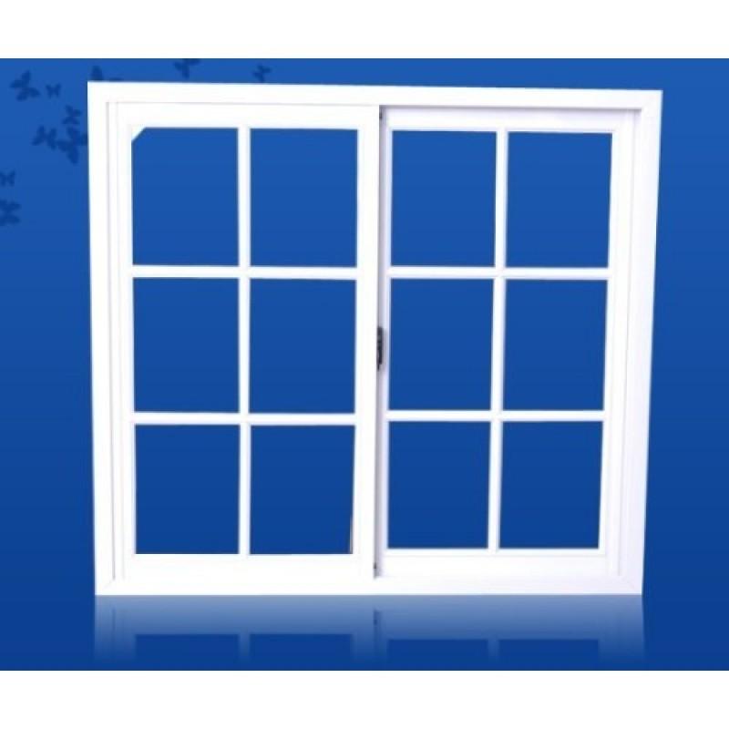 ventana aluminio blanco vidrio repartido 100x90 con vidrio