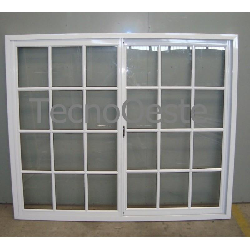 Ventana aluminio blanco vidrio repartido 180x150 con vidrio for Puertas ventanas de aluminio medidas