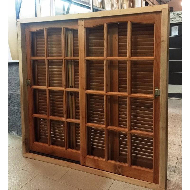 Ventana 150x150 cedro nacional con postigo celosia - Celosias para ventanas ...