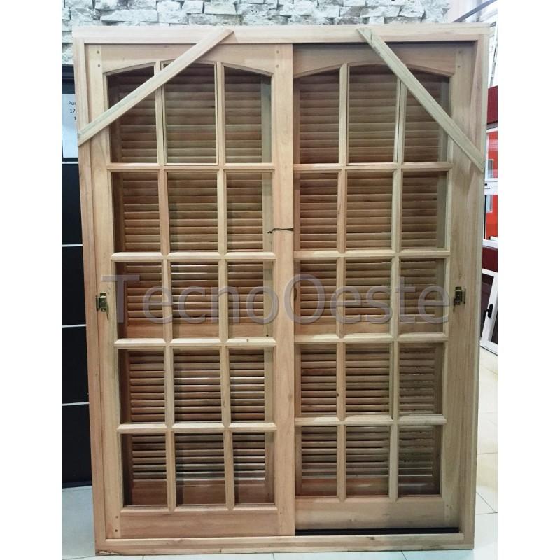 Puerta ventana 150x200 cm madera grandis con postigo celosia Puerta balcon aluminio medidas