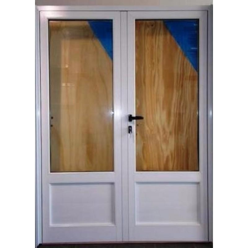 Puerta doble hoja 160x200 cm modena 3 4 vidrio for Puerta doble madera