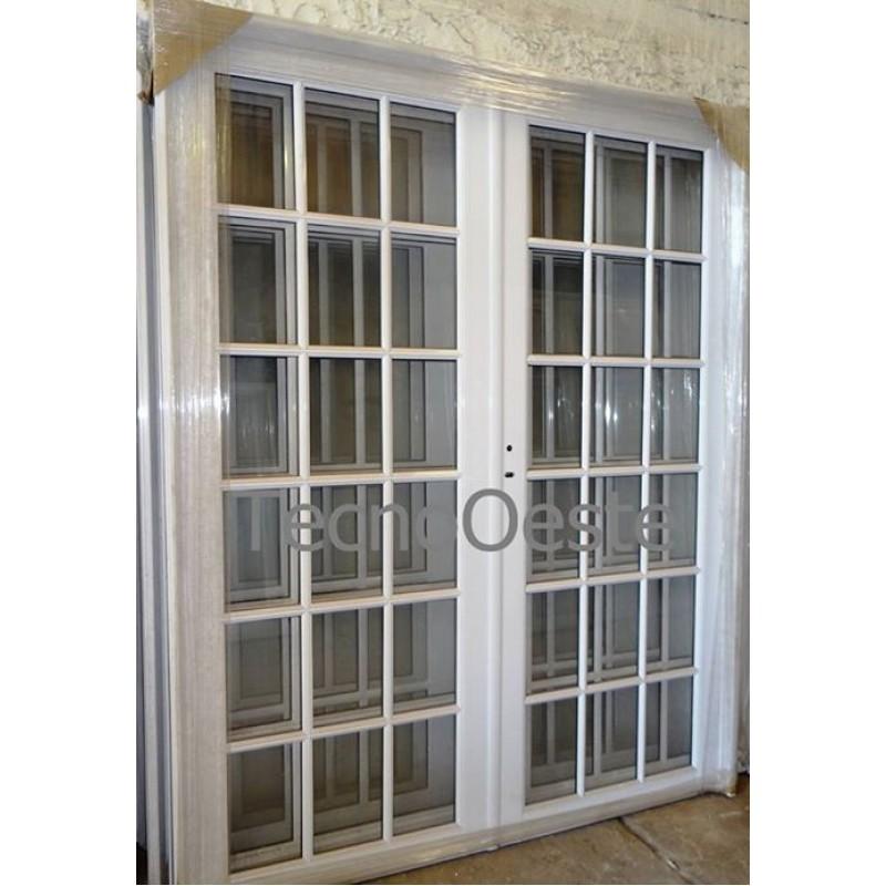 Puerta doble vidrio repartido completa 160x200 for Aberturas de aluminio precios y medidas
