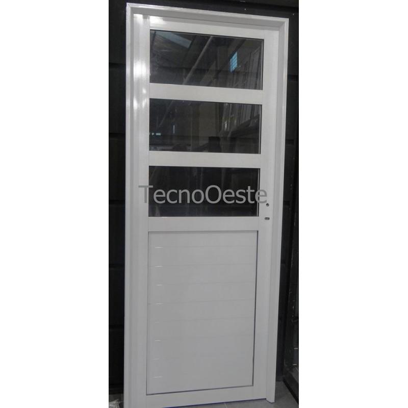 Puerta aluminio medio vidrio repartido horizontal 80x200 for Puertas de aluminio y vidrio modernas