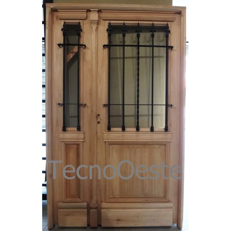 Puerta y media madera grandis 120x200 1 2 vidrio colonial - Puertas madera y vidrio ...