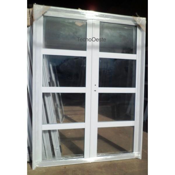 Puerta doble aluminio vidrios horizontales 160x200 for Ventanas de aluminio doble vidrio argentina