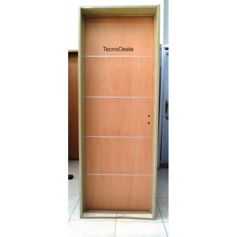 Puerta placa cedro con apliques de aluminio 70x200 chapa 18 - Placa de aluminio ...