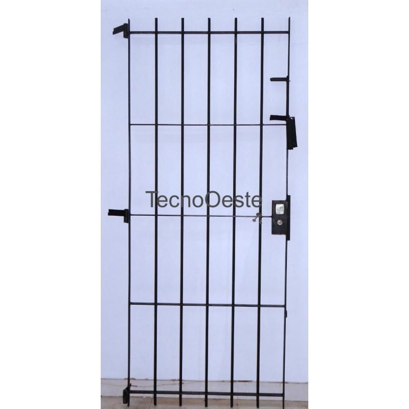Puerta reja seguridad hierro macizo 80x200 - Rejas de hierro para puertas ...