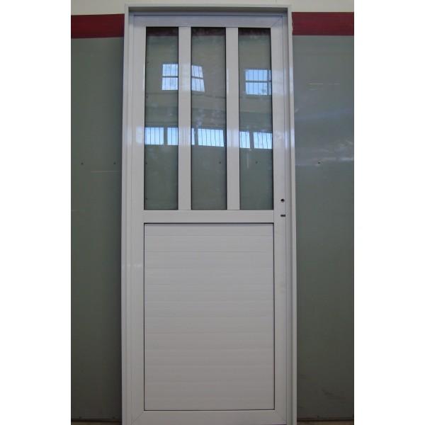 Puerta aluminio 1 2 vidrios verticales for Puertas de exterior con cristal