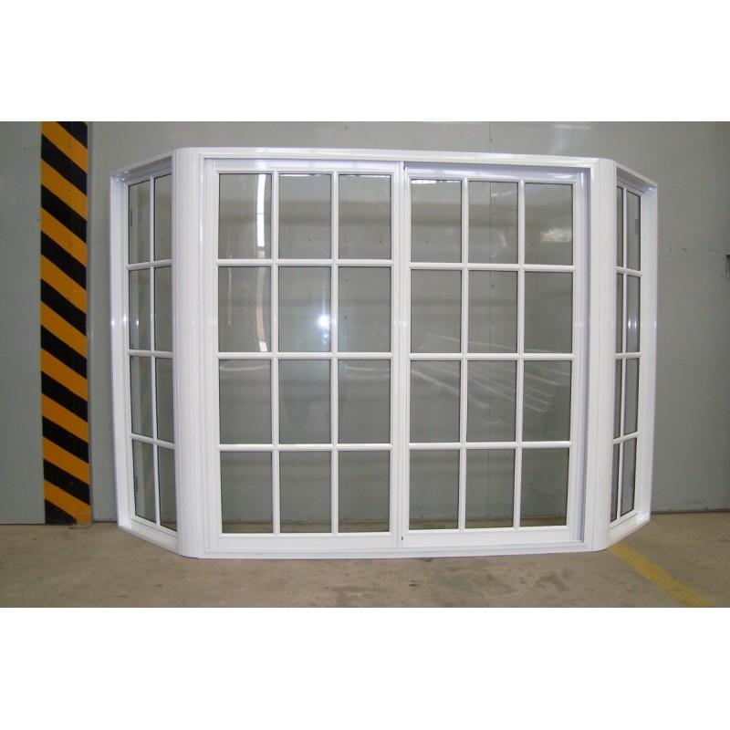 Ventana bow window armado blanco vidrio repartido 150x150 for Ventanas de aluminio doble vidrio argentina