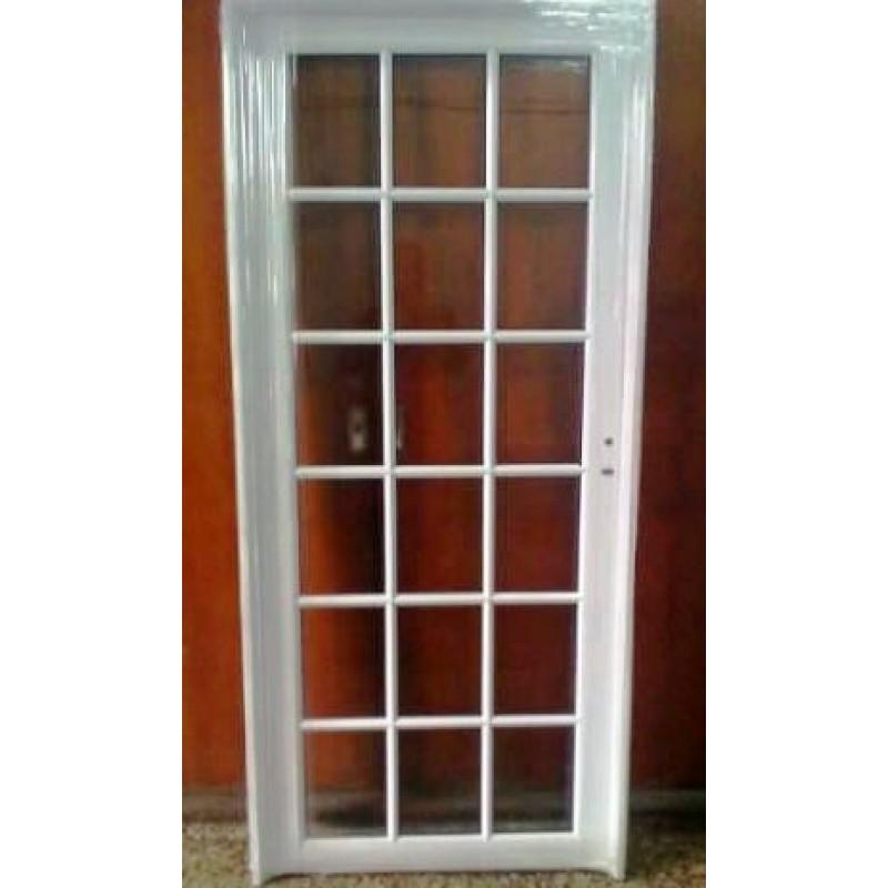 Puerta aluminio vidrio repartido 80x200 for Puertas en aluminio