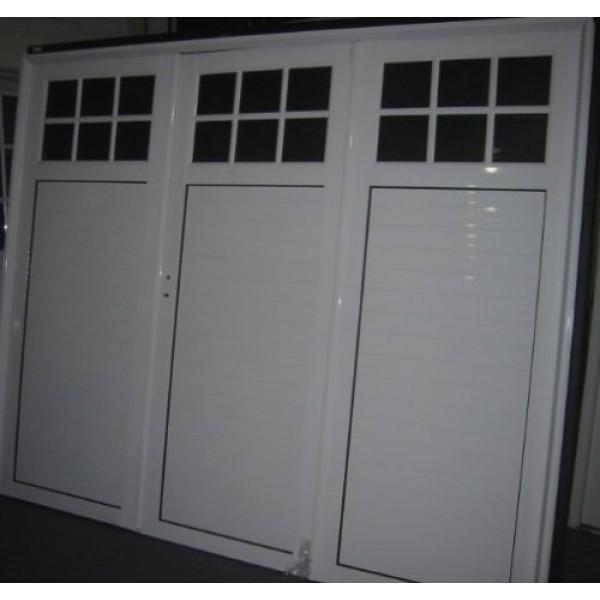 Porton Aluminio 1/4 Vidrio Repartido 240x200