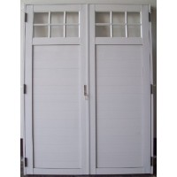 Puerta doble aluminio 1 4 vidrio repartido 160x200 for Puerta doble hoja exterior