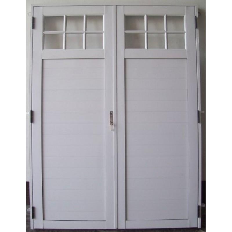 Puerta doble aluminio 1 4 vidrio repartido 160x200 for Puerta doble madera